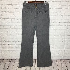 7 for all Mankind Pinstriped Flare Leg Denim Jeans